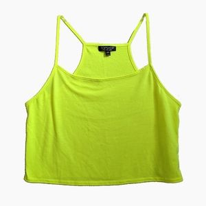 TOPSHOP | NEON YELLOW CROPPED TANK TOP